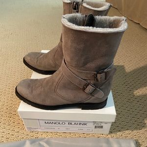 Manolo blahnic  suede grey boots